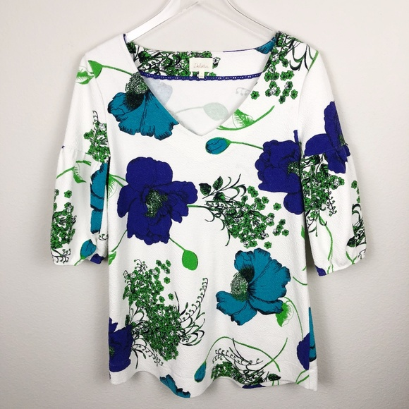 Deletta Tops - Deletta V-Neck Tunic Floral Top